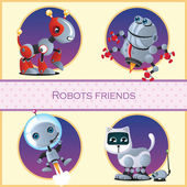 Robot dog, beetle, astronaut and cat with mouse