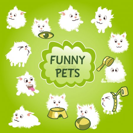 Funny white pets icon on a green background