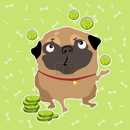 Pug dog finds the money, background with bones