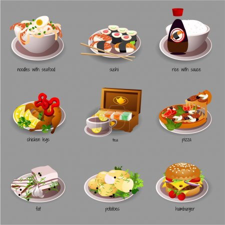 Big food set, nine icons of delicious dishes