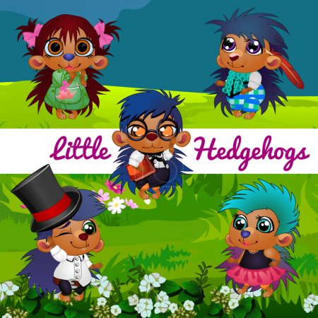 Illustration for Fictional characters small hedgehogs in a human manner - Royalty Free Image
