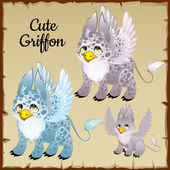 Set of three griffons on a parchment background