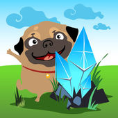Pug with a crystal in the natural landscape