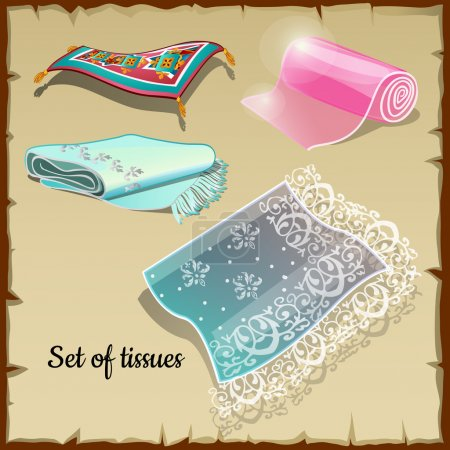 Set of various rich tissue, oriental motifs