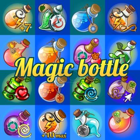 Big set of different magic bottles