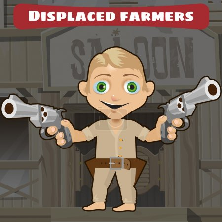 Ilustración de Personaje de dibujos animados ficticio de Wild West - los campesinos desplazados - Imagen libre de derechos