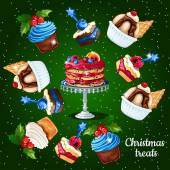 Set of desserts for the Christmas time 10 icons