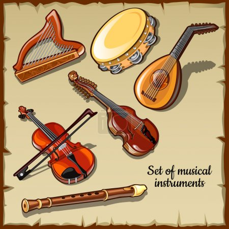 String and wind musical instruments, six icons