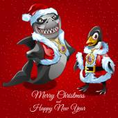 Wishes merry Christmas from sharks Santa and his friend poultry