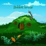 Постер, плакат: Drawn fairy hobbit house in the meadow