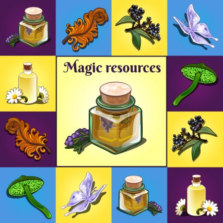 Set of magic components, items and ingredients