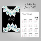 Calendar 2016 with white feathers and diamonds