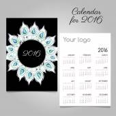 Calendar with wreath of white feathers and diamonds