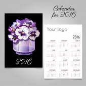 Calendar with bunch of flowers in a vase black and purple