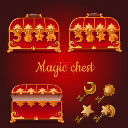 Set of magical red chests and golden keys
