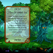 Landscape with mystical nature and frame for your text on the left