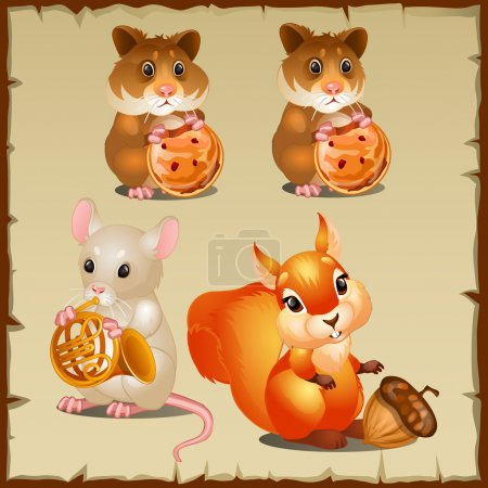 Set of squirrel with hamsters and mouse