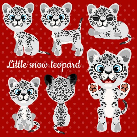 Emotions a little leopard on a red background