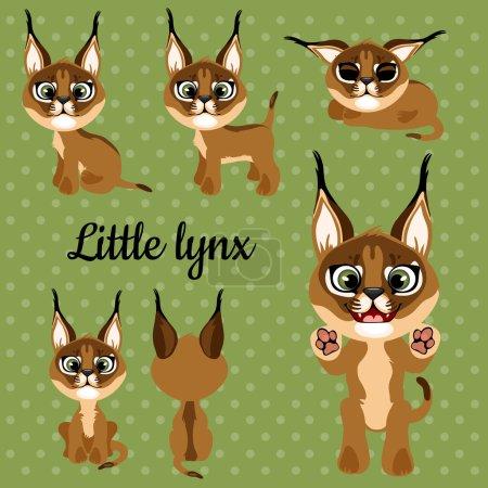 Illustration pour Ensemble d'émotions un peu lynx sur un fond vert - image libre de droit