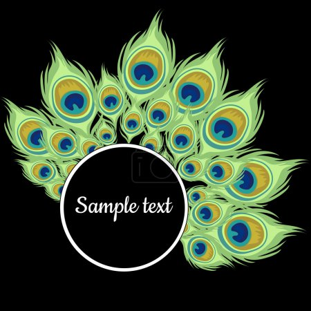 Illustration for Round frame with green peacock feathers and text - Royalty Free Image
