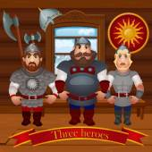 Three cartoon characters in the hut in full armor