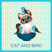 Cute kitten and birds in the blue cup