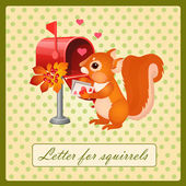 Cute squirrel with a Valentines day letter