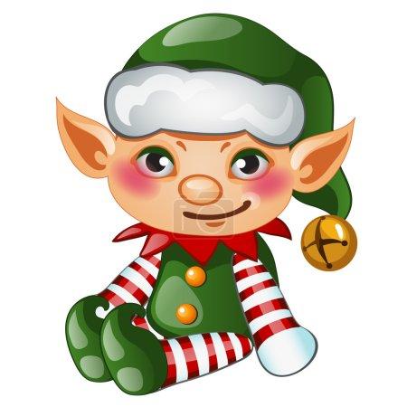 Illustration pour Elfe garçon mignon en costume vert, caractère isolé pour vos besoins - image libre de droit