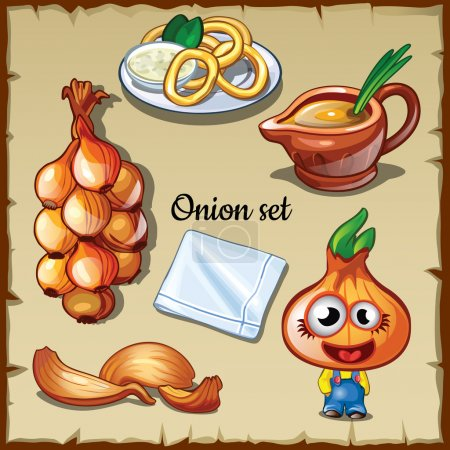 Onion set, onion in different forms