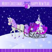 Lila karácsonyi kártya ajándékokkal szán és ló