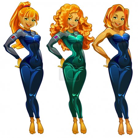 Illustration for Three diver girls isolated with space for text, cartoon character - Royalty Free Image