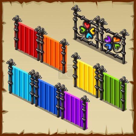 Colorful set of fences with forged elements, four items