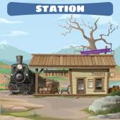 Station and train of the 19th century in Wild West