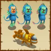 Three underwater blue monkeys and yellow submarine vector cartoon