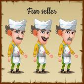 Set of three emotions an elderly man seller