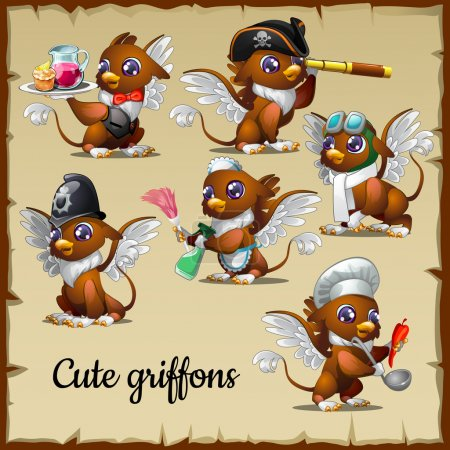 Six cute griffons engaged in their own business