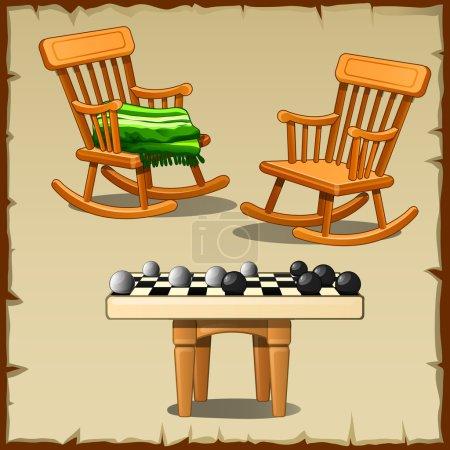Illustration pour Lot de deux chaises berçantes avec le jeu de dames sur les tabourets en bois - image libre de droit