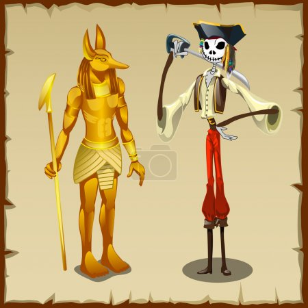 Two ancient symbols, Anubis figurine and pirate