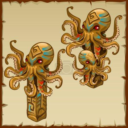 Illustration pour Deux colonnes avec pieuvre et symboles anciens, image vectorielle - image libre de droit