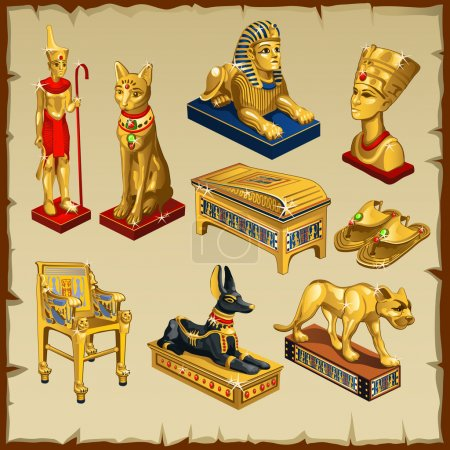 Big set of Egyptian statues made of gold, eight it...