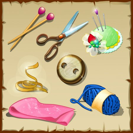 Illustration for Sewing kit tailor, seven vector items for sewing and knitting - Royalty Free Image