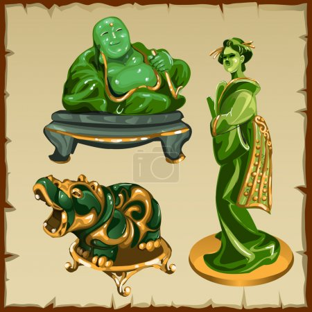 Illustration for Figures from malachite Buddha, geisha and animal hippo - Royalty Free Image