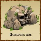 Scary underwater cave with the skull and grass