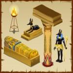 Set of Egyptian deities and symbols of ancient civ...