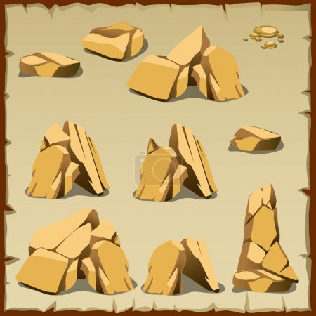 Beige rock of different shapes, 10 icons