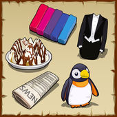 Set of sweets newspapers penguin and other items
