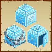 Three blue chest of ice open and closed