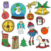 WinterNew year Christmas outline icons color set Many different decorative elements for winter holidays for design Trendy flat style Doodle sketch in style of childs hand drawing