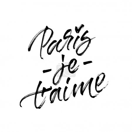 Photo for Paris je t'ame (I love you Paris). Handwritten inspirational quote for adventure poster and romantic  travel to Paris card design. Modern calligraphy with real ink brush strokes texture isolated on white background. - Royalty Free Image