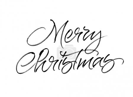 Photo for Merry Christmas handwritten calligraphy isolated on white background - Royalty Free Image